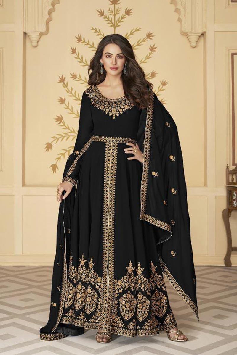 Black Color Sangeet Wear Embroidered Floor Length Anarkali Dress In Georgette