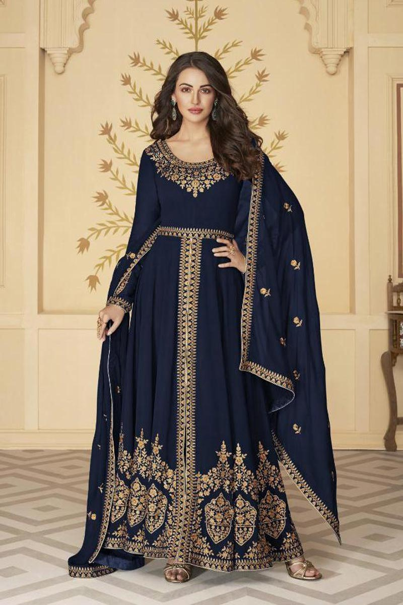 Sangeet Wear Navy Blue Color Georgette Embroidered Long Length Anarkali Suit
