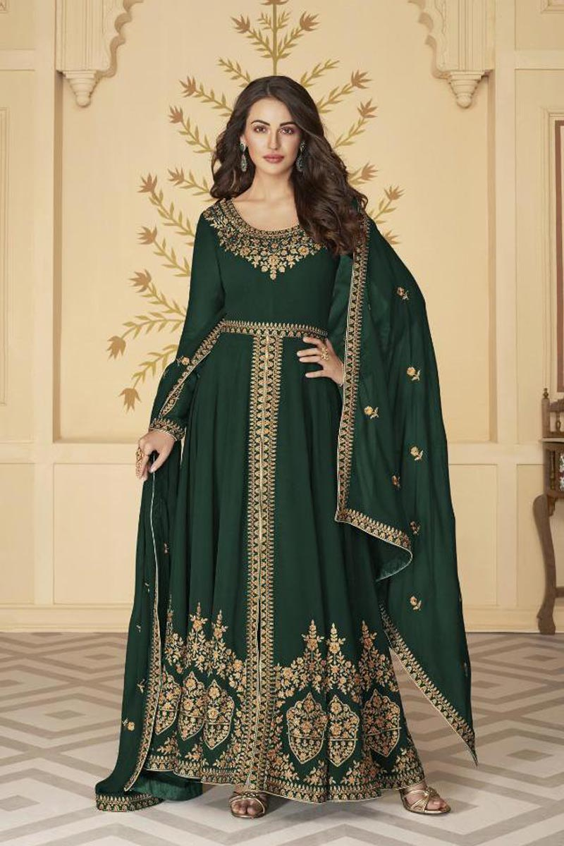 Sangeet Wear Embroidered Floor Length Dark Green Color Anarkali Dress In Georgette