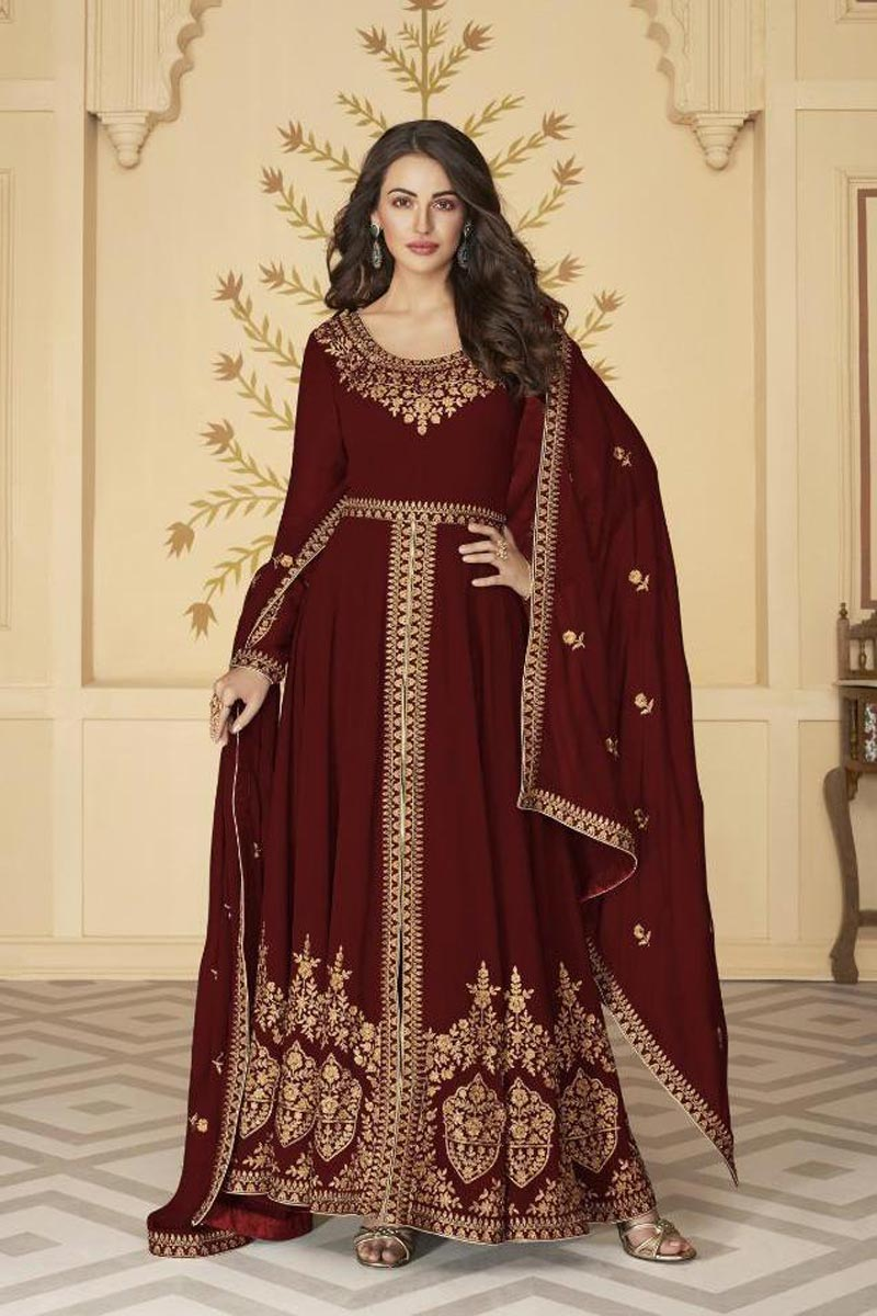 Sangeet Wear Maroon Color Long Length Georgette Embroidered Anarkali Suit