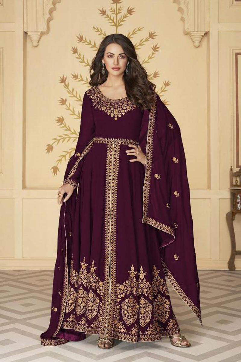 Sangeet Wear Embroidered Wine Color Floor Length Anarkali Dress In Georgette