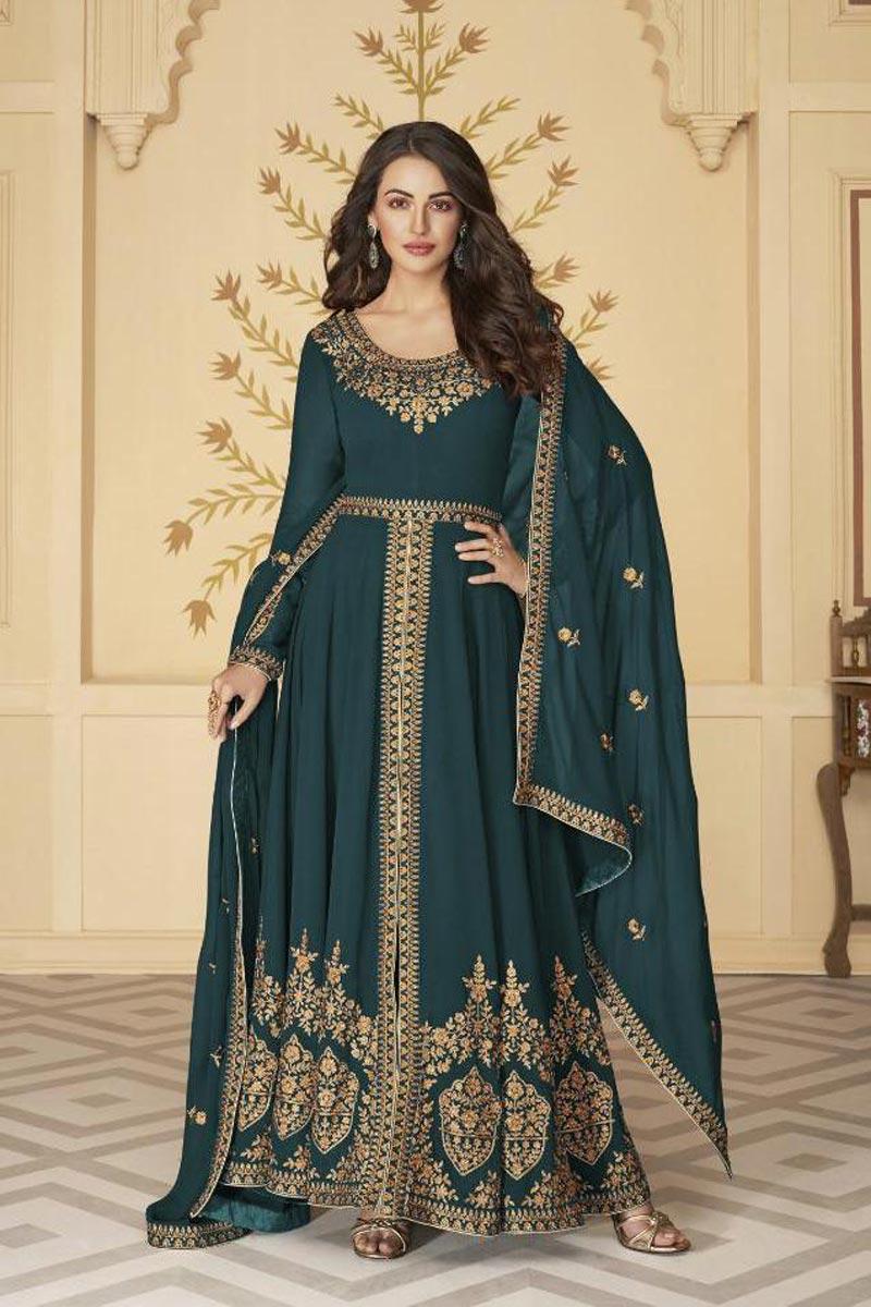 Georgette Sangeet Wear Teal Color Long Length Embroidered Anarkali Suit