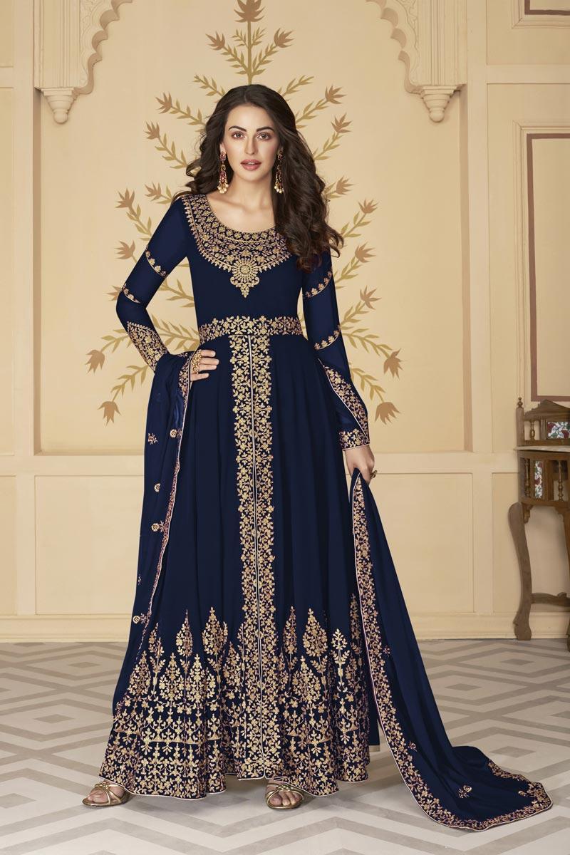Sangeet Wear Navy Blue Color Georgette Embroidered Floor Length Anarkali Suit