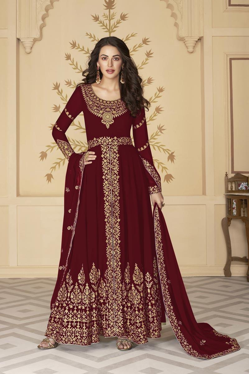 Sangeet Wear Maroon Color Floor Length Georgette Embroidered Anarkali Suit