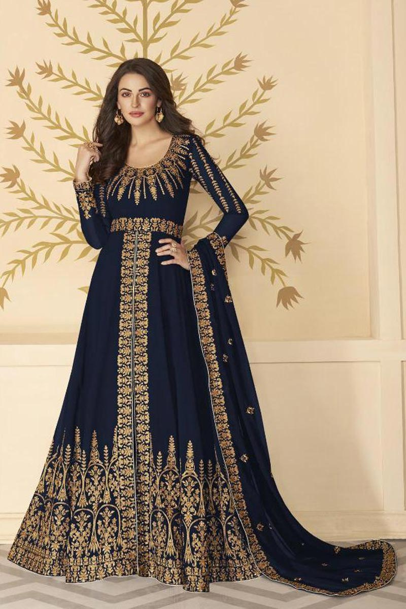 Function Wear Navy Blue Color Georgette Fabric Embroidered Long Length Anarkali Suit