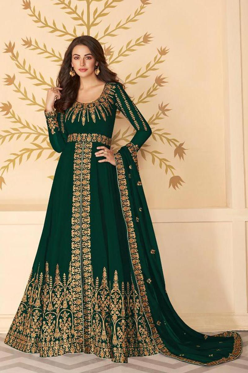 Function Wear Embroidered Floor Length Dark Green Color Anarkali Dress In Georgette Fabric
