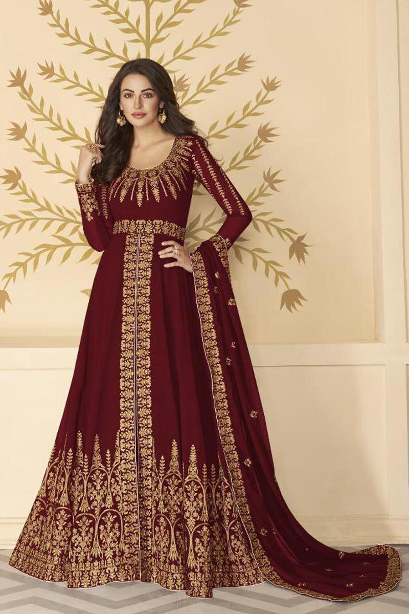 Function Wear Maroon Color Long Length Georgette Fabric Embroidered Anarkali Suit