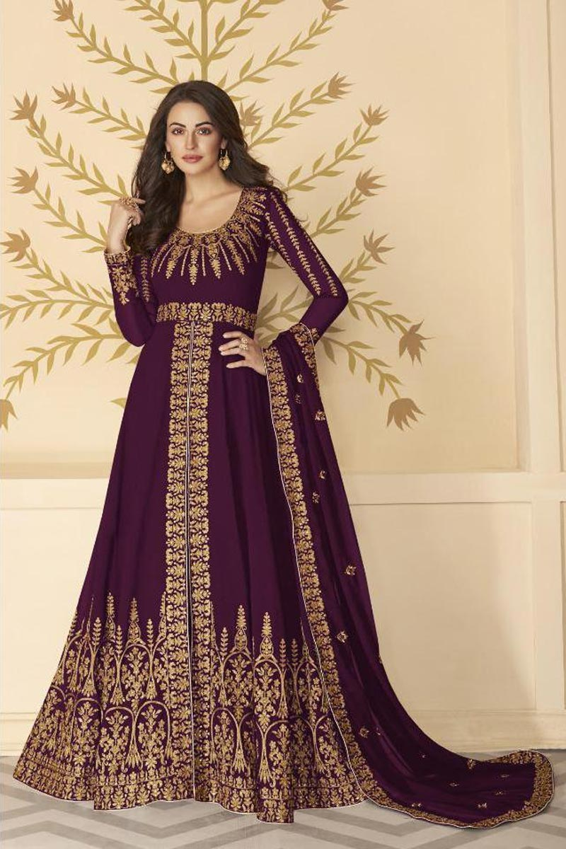 Function Wear Embroidered Wine Color Floor Length Anarkali Dress In Georgette Fabric