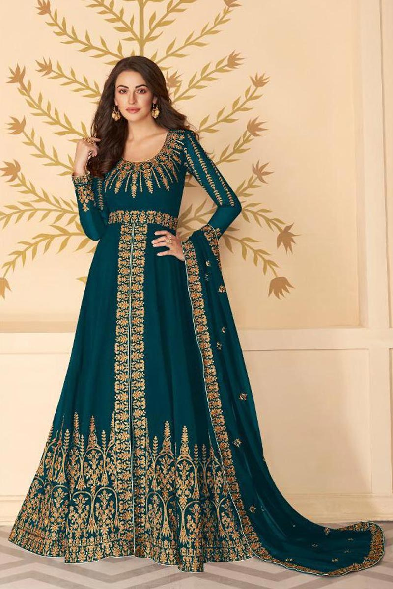 Georgette Fabric Function Wear Teal Color Long Length Embroidered Anarkali Suit
