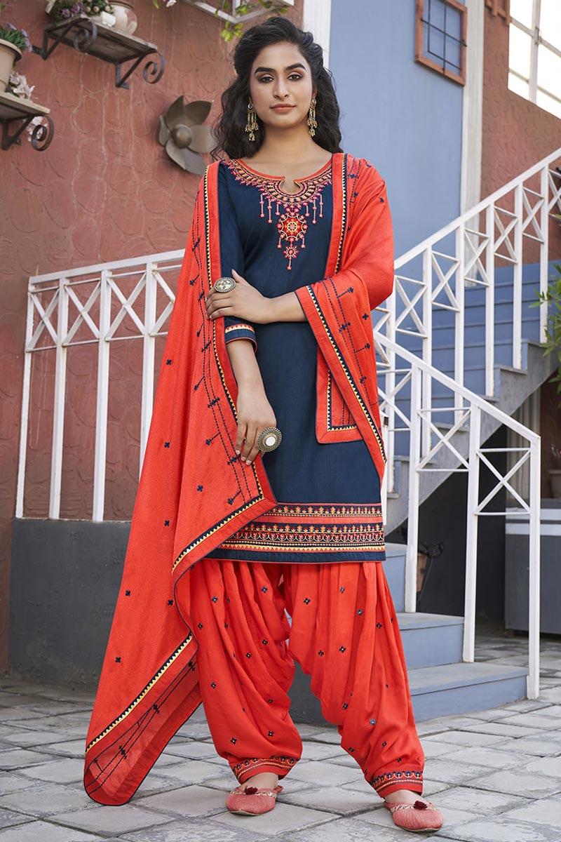 Cotton Fabric Navy Blue Color Festive Wear Patiala Salwar Kameez