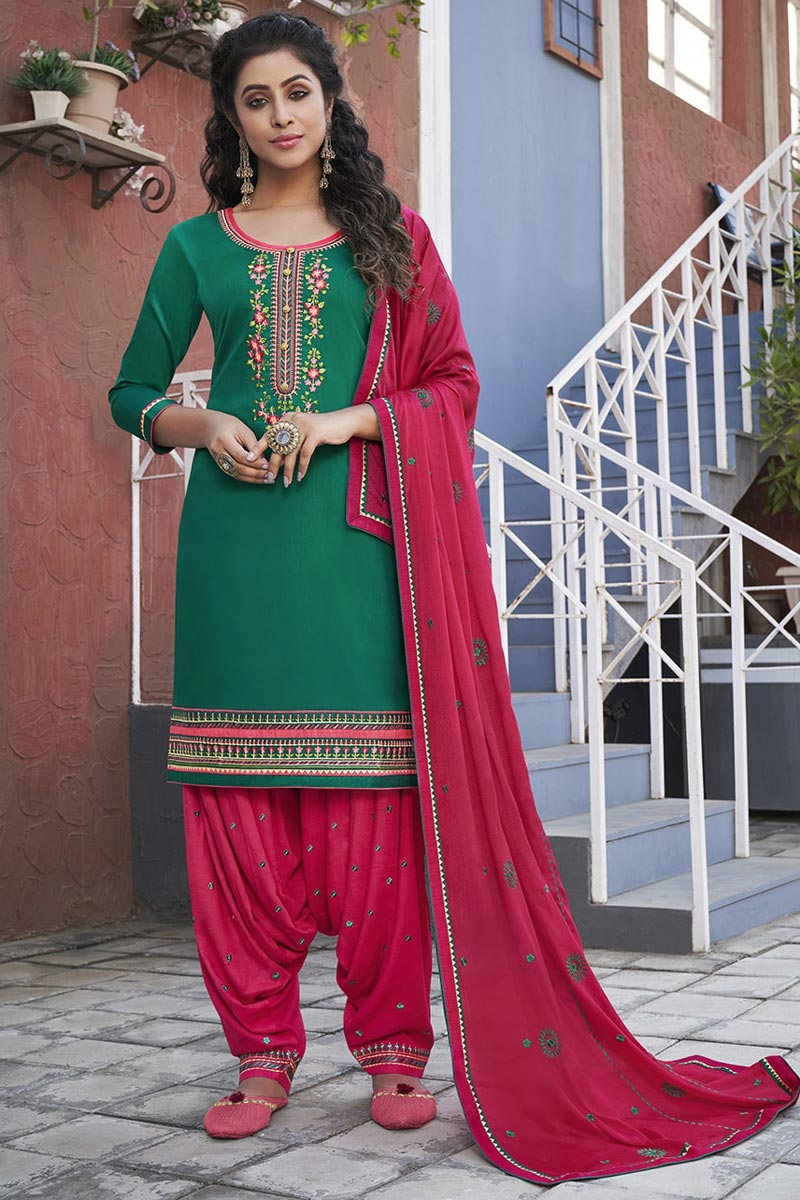 Embroidery Designs Cotton Fabric Party Wear Patiala Suit