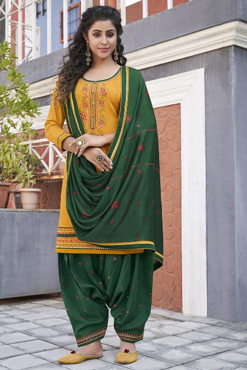 Cotton Fabric Party Wear Patiala Salwar Suit
