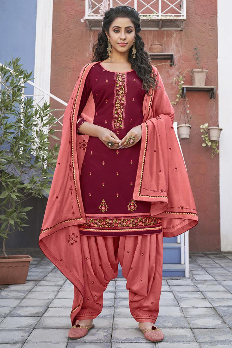 Maroon Color Cotton Fabric Function Wear Embroidered Patiala Suit