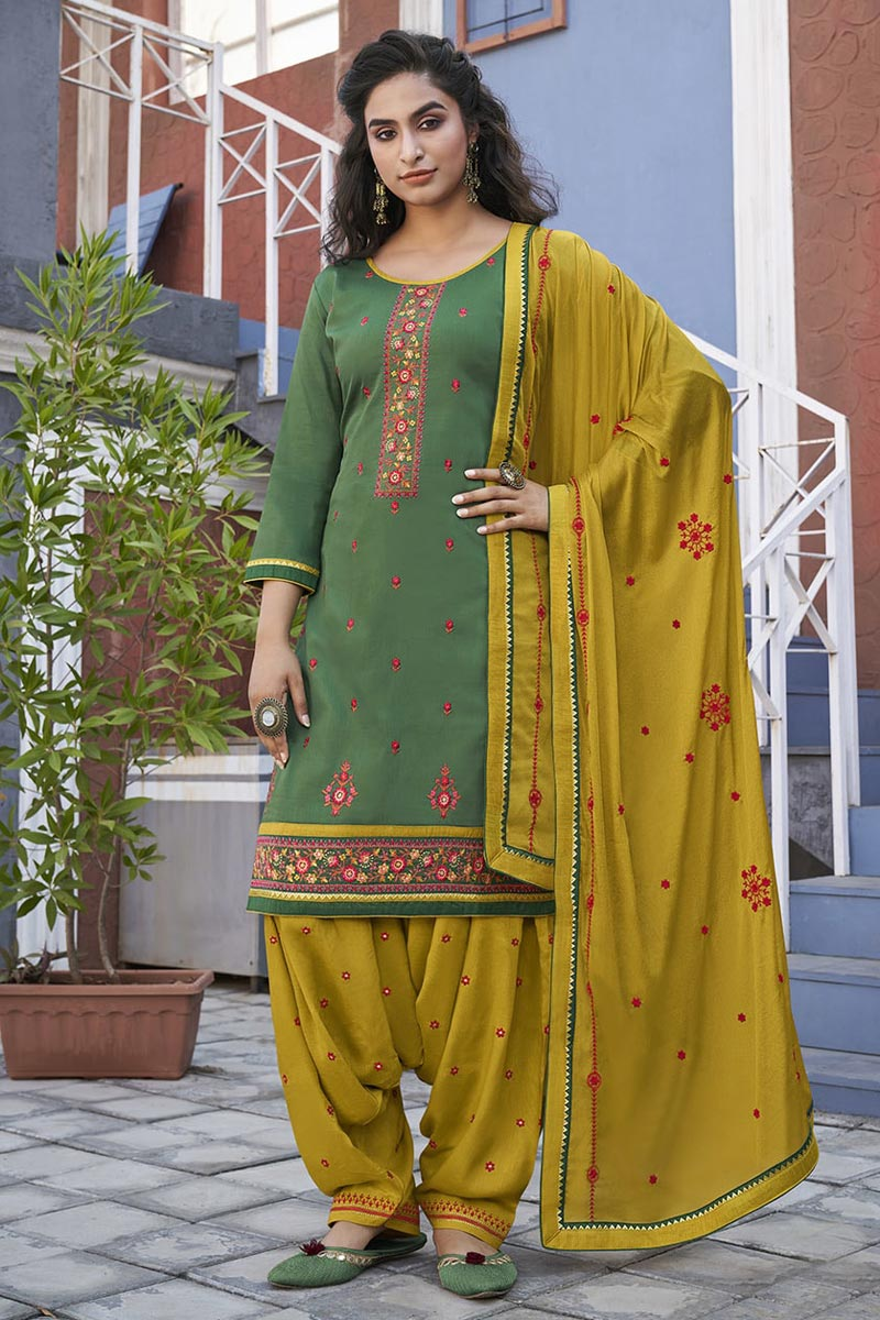 Embroidery Work Sea Green Color Cotton Fabric Patiala Salwar Suit