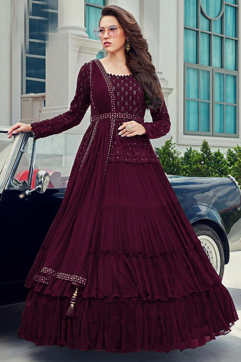 Embroidered Gown Style Readymade Anarkali Suit In Georgette Fabric