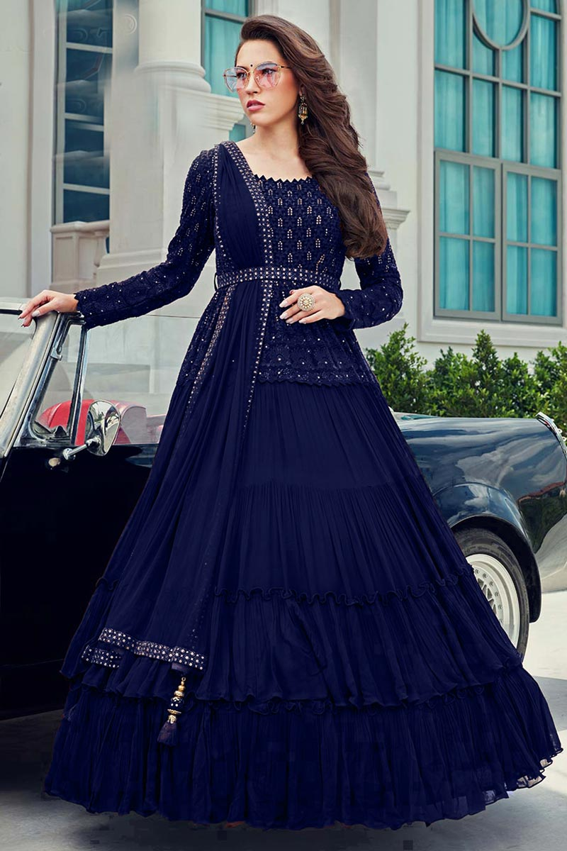 Party Wear Gown Style Readymade Anarkali Suit In Navy Blue Color With Embroidery Work