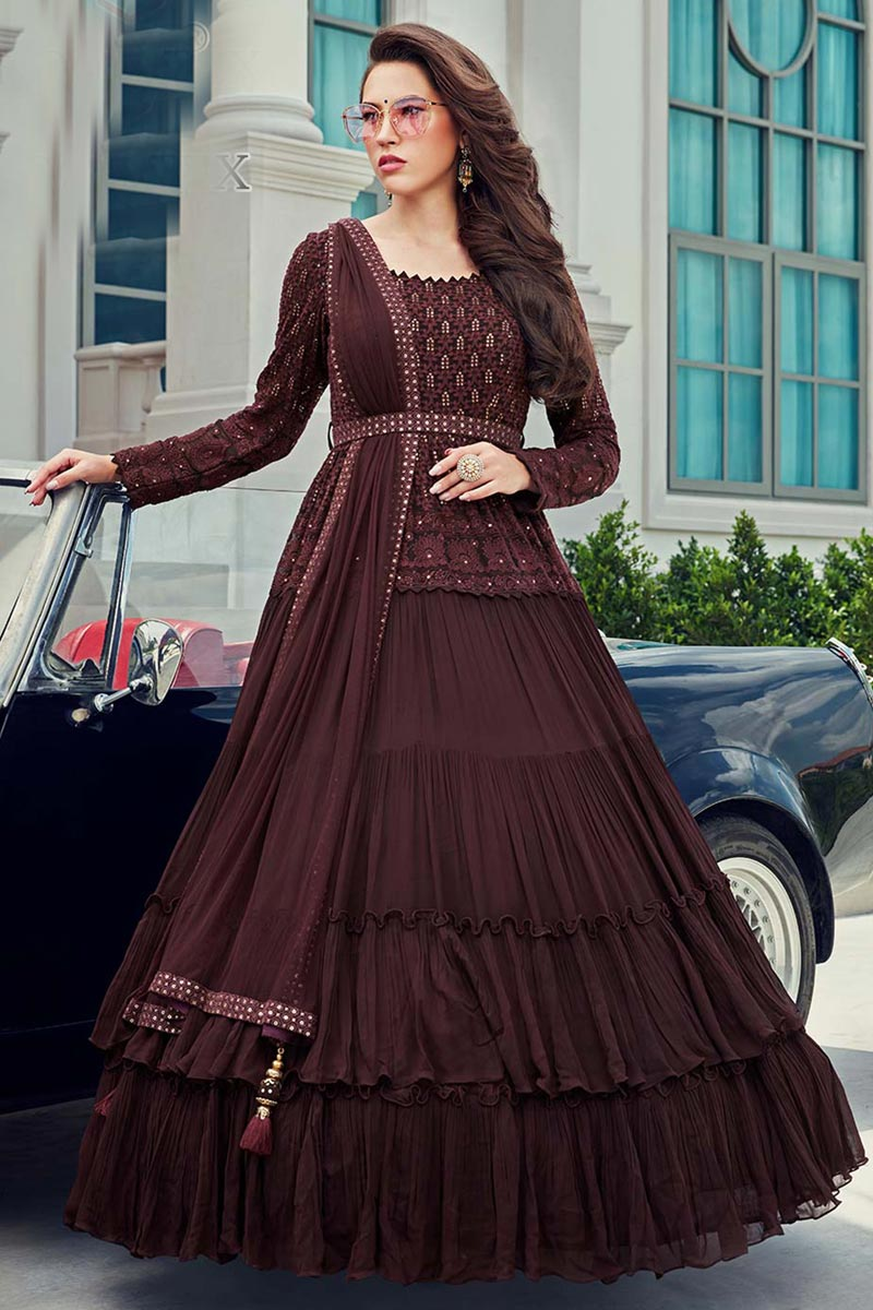 Georgette Fabric Function Wear Embroidered Gown Style Readymade Anarkali Suit