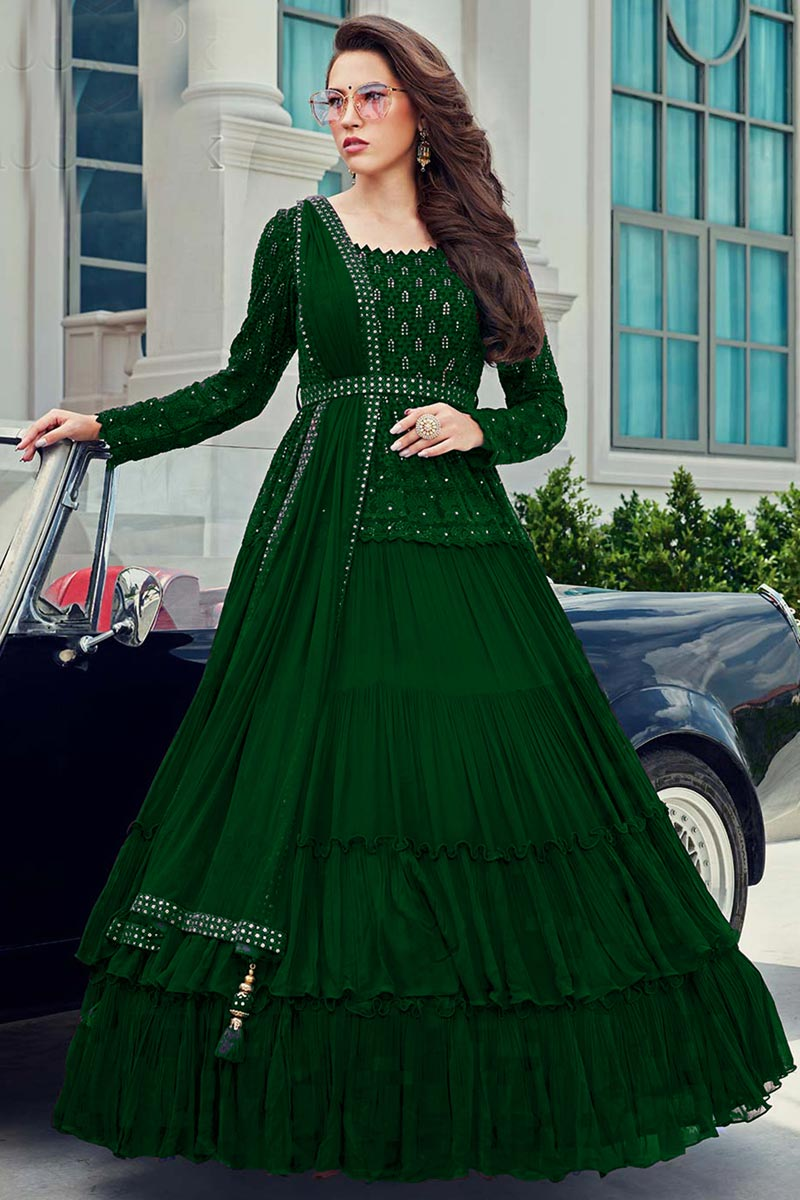 Occasion Wear Green Color Embroidered Gown Style Readymade Anarkali Suit