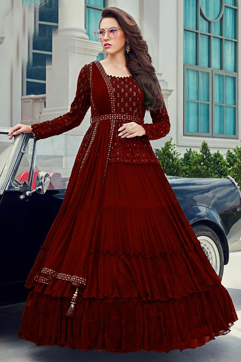 Embroidery Work Georgette Fabric Gown Style Readymade Anarkali Suit