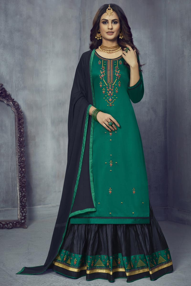 Art Silk Fabric Festive Wear Embroidered Teal Color Sharara Top Lehenga