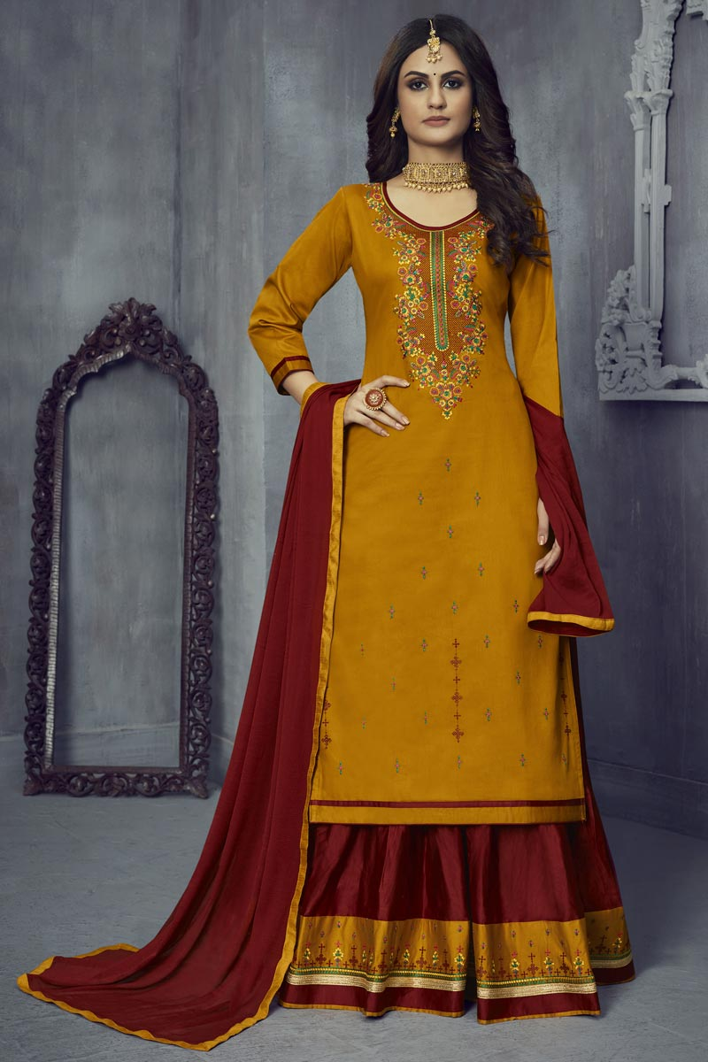 Mustard Color Embroidered Festive Wear Sharara Top Lehenga In Art Silk Fabric