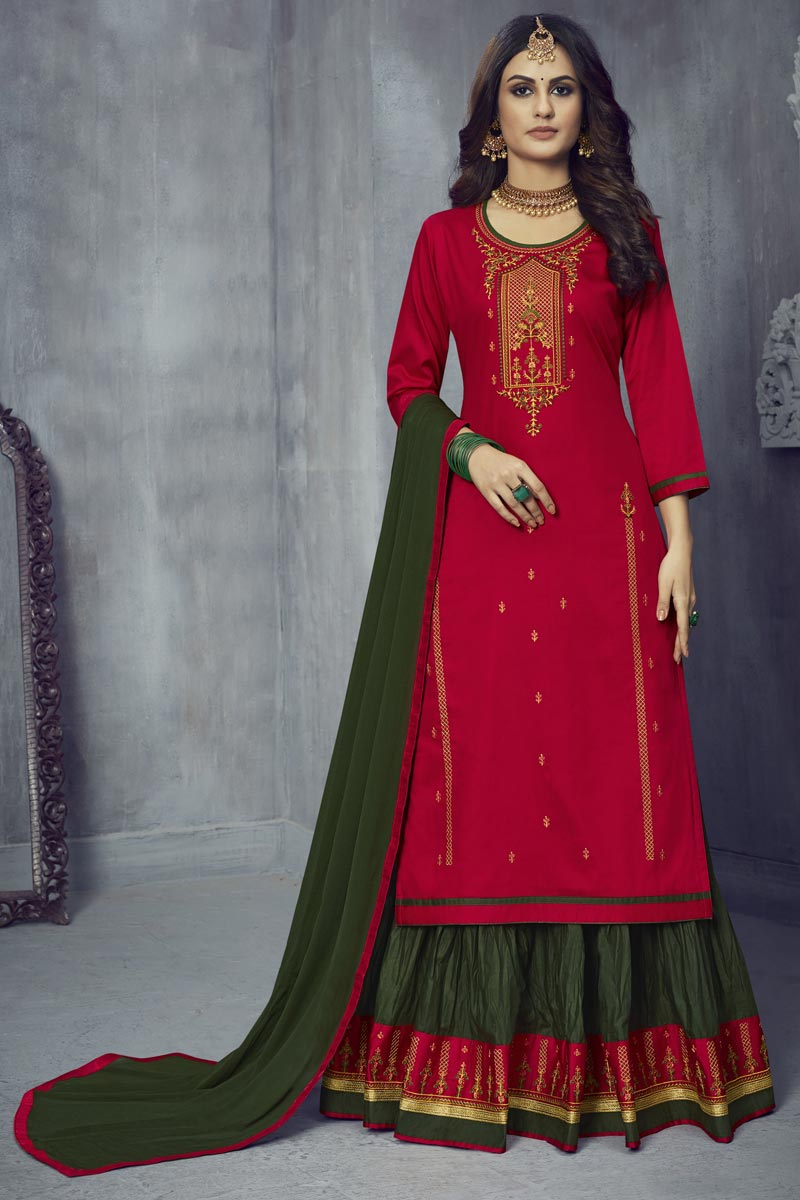 Art Silk Fabric Festive Wear Red Color Embroidered Sharara Top Lehenga