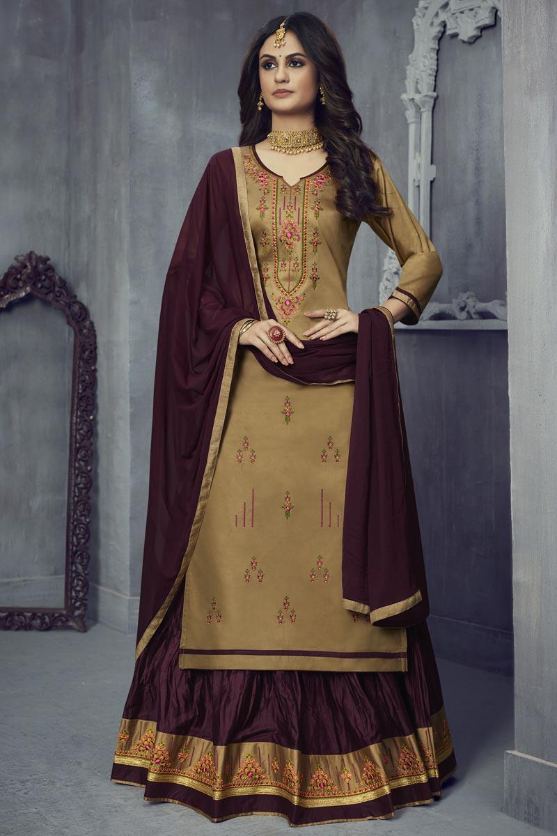Festive Wear Art Silk Fabric Embroidered Sharara Top Lehenga In Beige Color