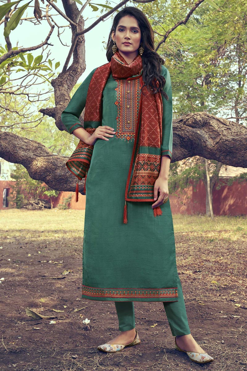 Art Silk Fabric Cyan Color Party Wear Salwar Suit