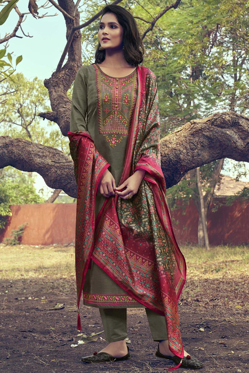 Dark Beige Color Art Silk Fabric Function Wear Embroidered Suit