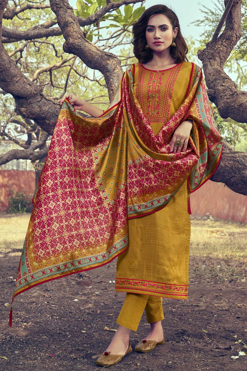Occasion Wear Yellow Color Embroidered Salwar Kameez