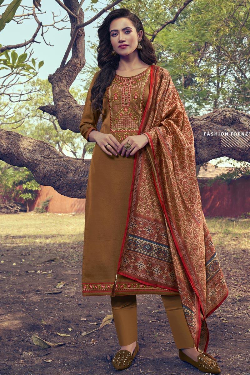 Embroidery Work Rust Color Art Silk Fabric Salwar Suit