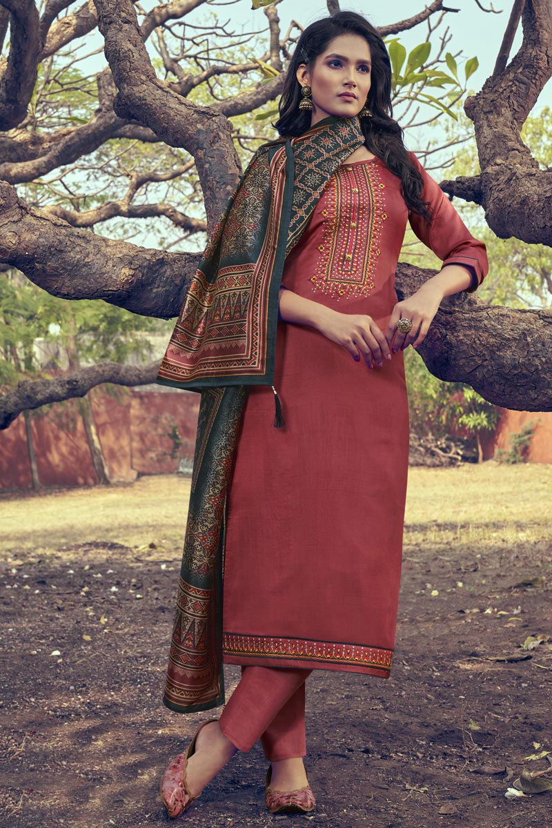 Art Silk Fabric Peach Color Function Wear Salwar Suit