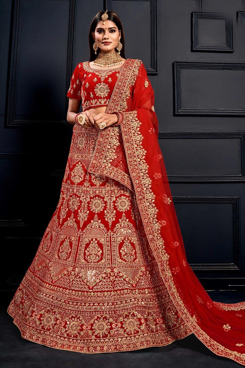 Embroidered Red Color Bridal Lehenga Choli