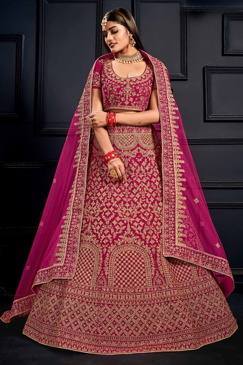 Net Fabric Bridal Wear 3 Piece Lehenga Choli