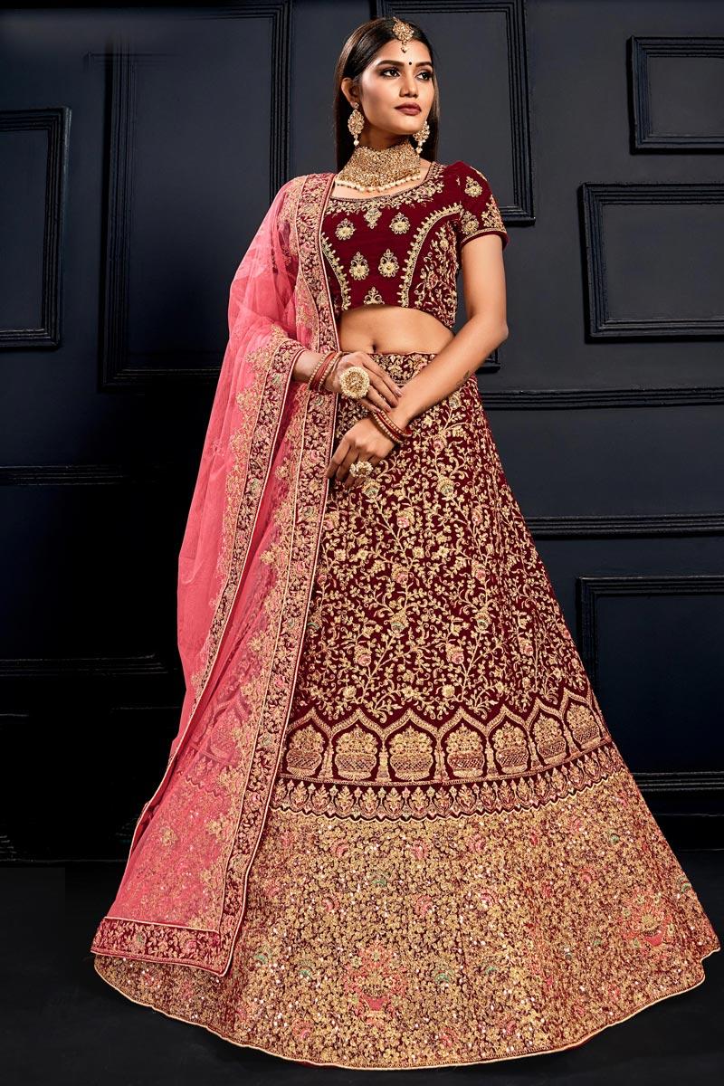 Maroon Color Designer Bridal Lehenga Choli