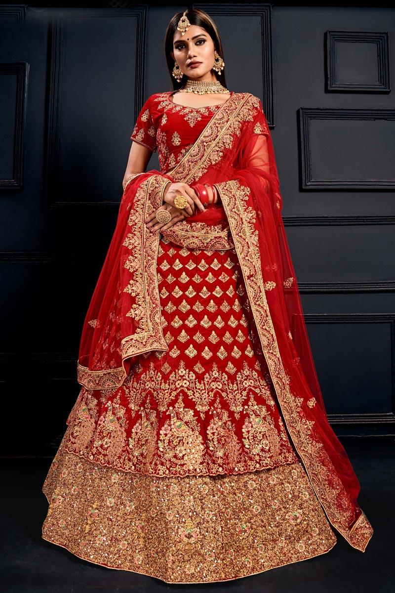 Velvet Fabric Bridal Wear Lehenga Choli In Red Color