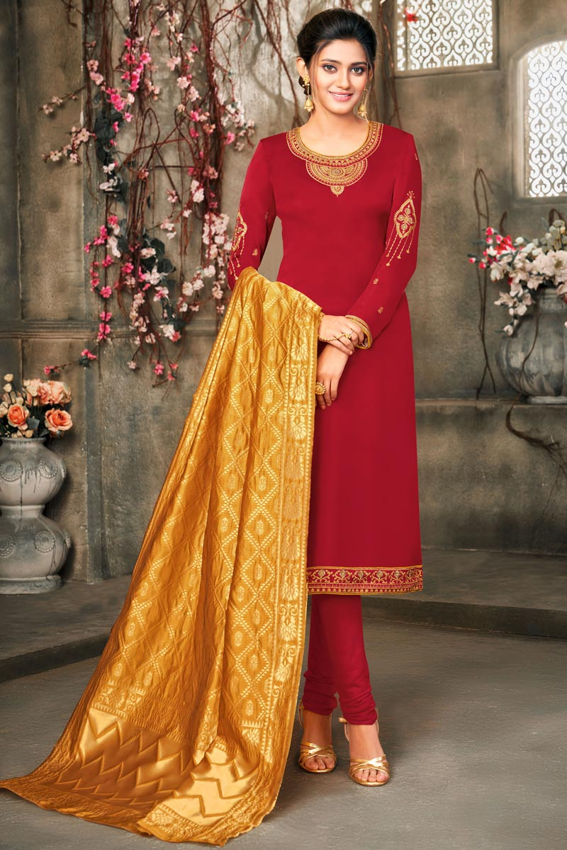 Red Color Embroidered Salwar Kameez