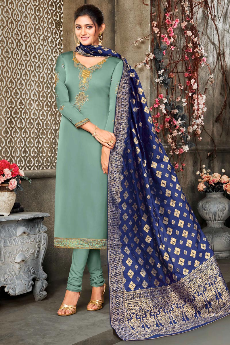 Satin Georgette Fabric Sea Green Color Party Wear Salwar Suit