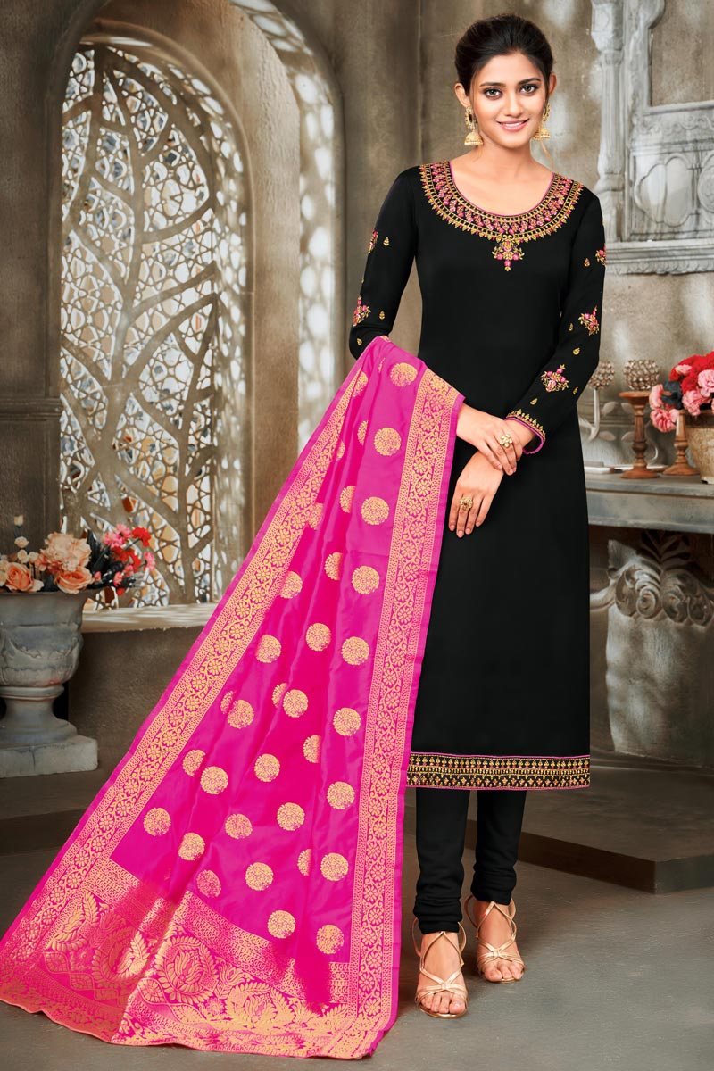 Black Color Satin Georgette Fabric Function Wear Embroidered Suit