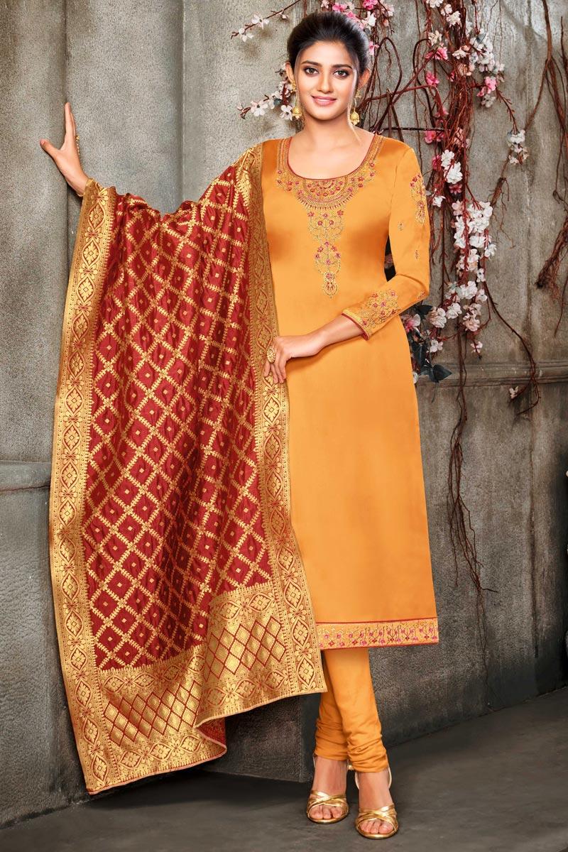 Occasion Wear Mustard Color Embroidered Salwar Kameez