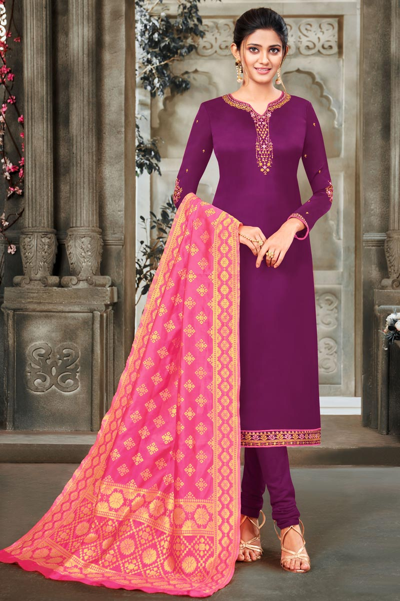 Embroidery Work Purple Color Satin Georgette Fabric Salwar Suit