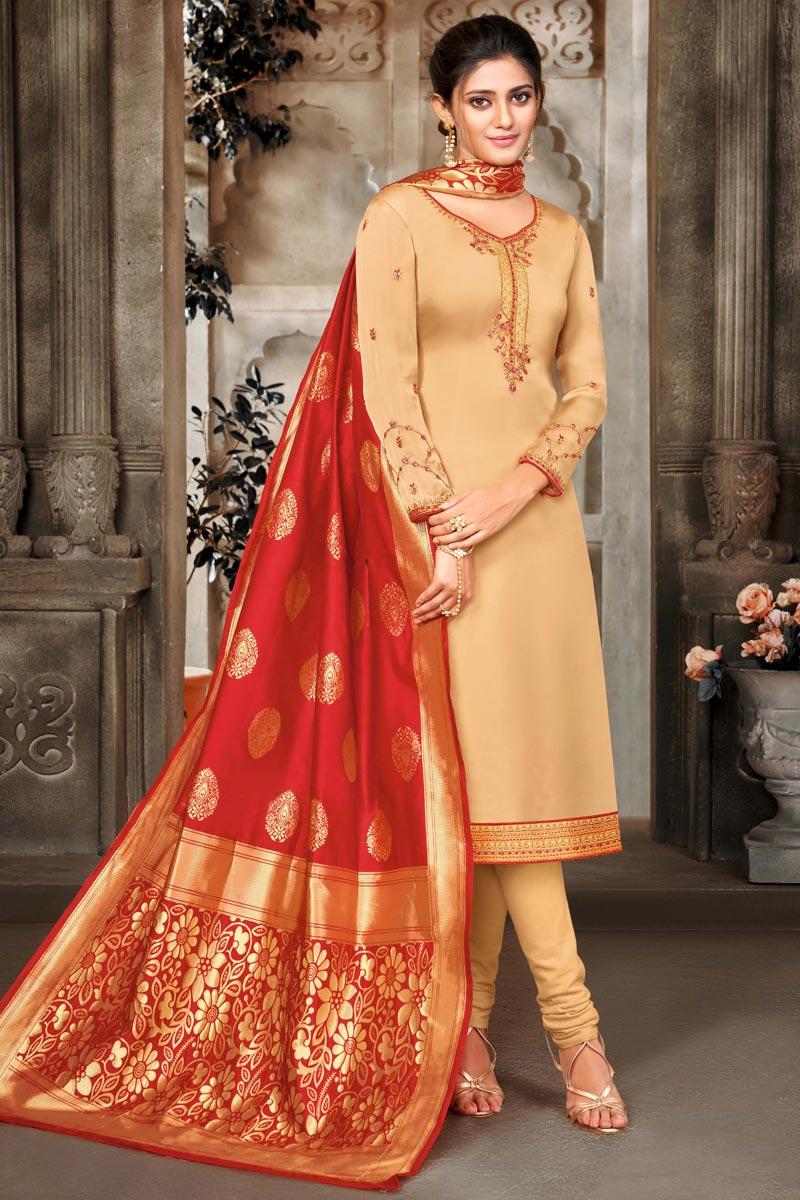 Satin Georgette Fabric Beige Color Function Wear Salwar Suit