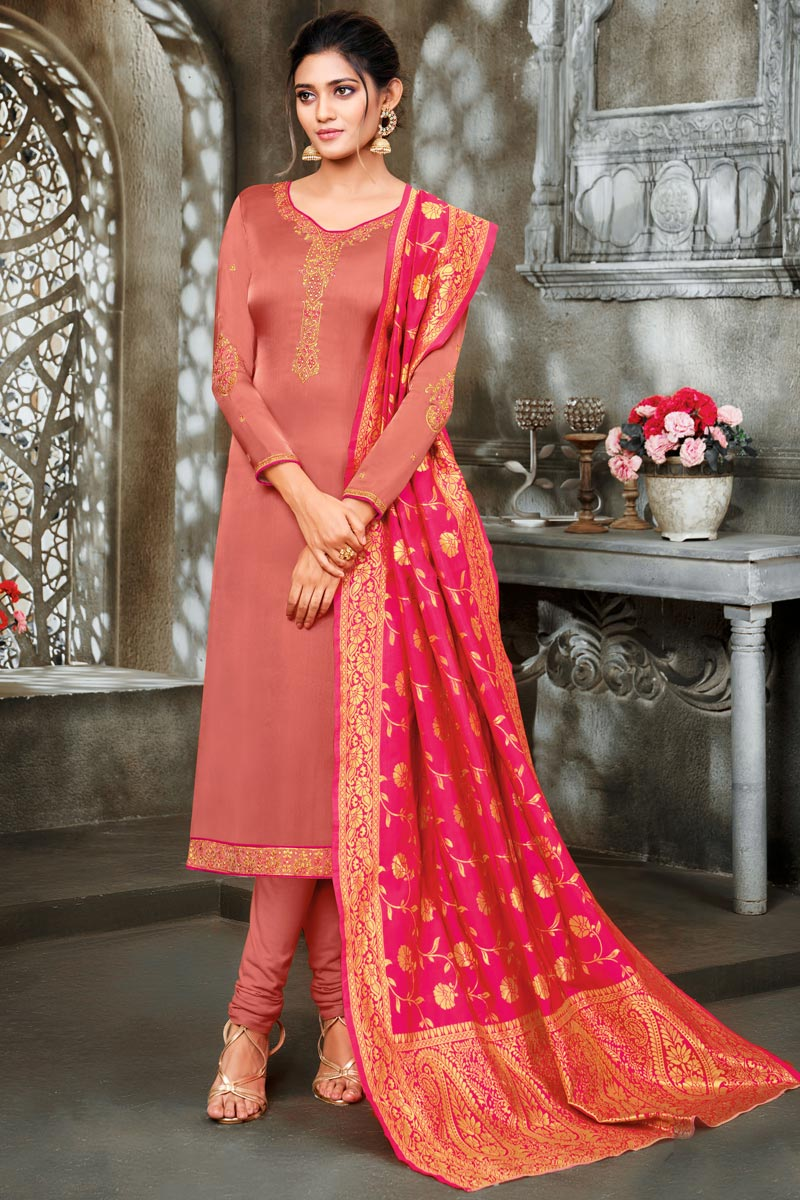 Satin Georgette Festive Wear Peach Color Salwar Suit