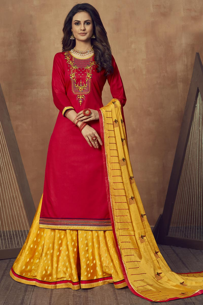 Red Color Embroidered Festive Wear Sharara Top Lehenga In Cotton Silk Fabric