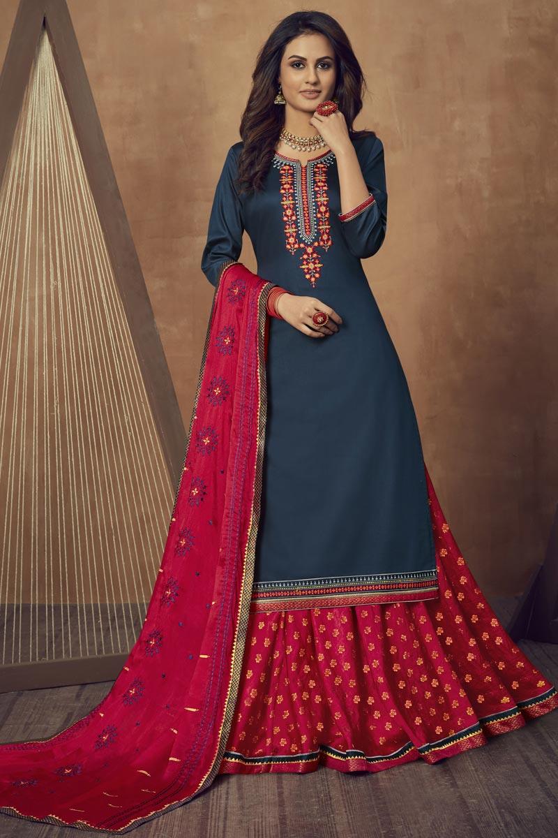 Cotton Silk Fabric Festive Wear Navy Blue Color Embroidered Sharara Top Lehenga