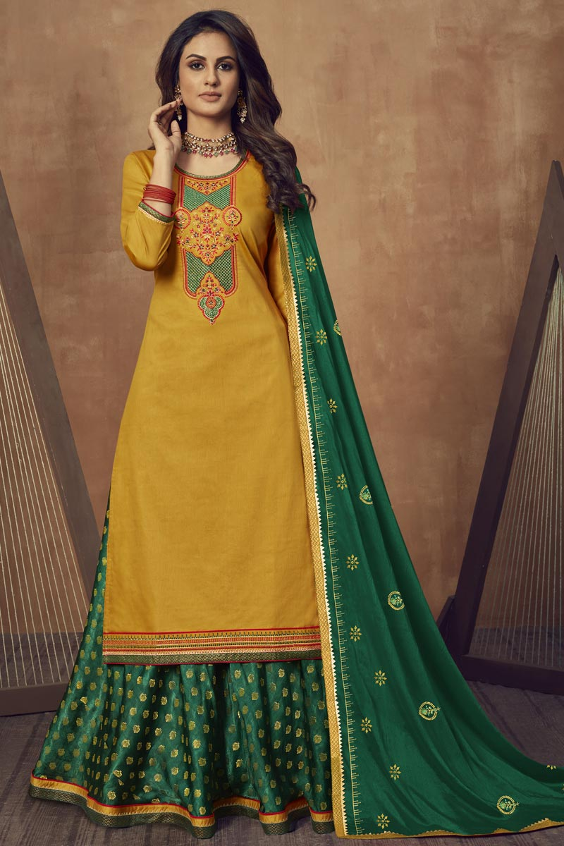 Festive Wear Cotton Silk Fabric Embroidered Sharara Top Lehenga In Mustard Color