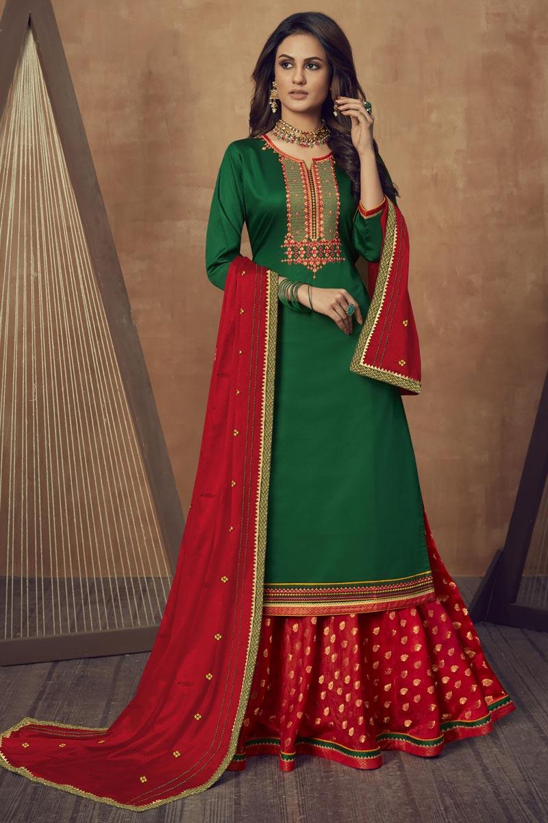Cotton Silk Fabric Festive Wear Embroidered Green Color Sharara Top Lehenga