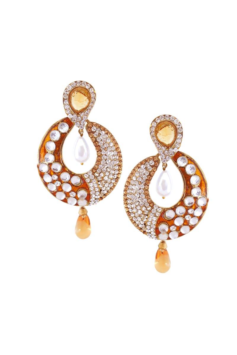 Orange Color Brass Function Wear Earrings