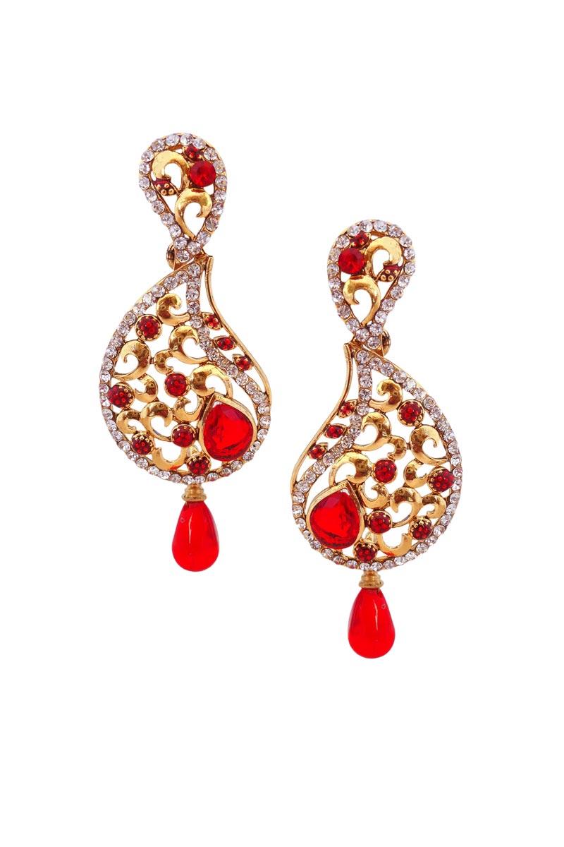Red Color Brass Function Wear Earrings