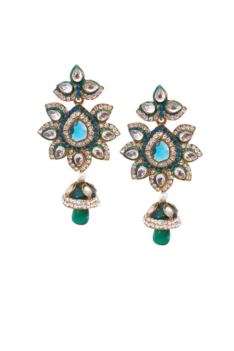 Teal Color Brass Function Wear Earrings